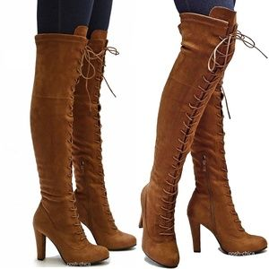 Tan Stretchy Lace Up Over Knee Combat Heel Boots